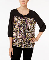 NY Collection Petite Printed Pleated Keyhole Top