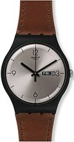 Swatch 'Lonely Desert' Quartz Plastic and Leather Casual Watch, Color:Brown (Model: SUOB721)