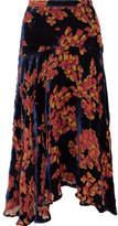 Saloni Ida Printed Devoré-velvet Midi Skirt