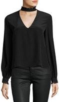 Alexis Klein Choker-Collar Silk Top, Black