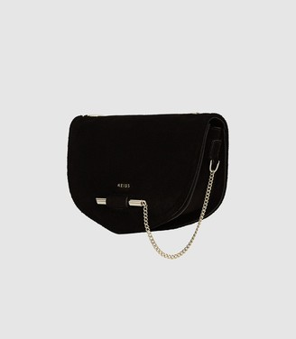 Reiss Langley - Suede Cross Body Bag in Black