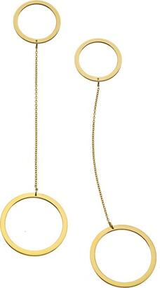 Jennifer Zeuner Jewelry Women's 18ct Yellow Gold Plated Silver Mismatch Open Circle Earrings