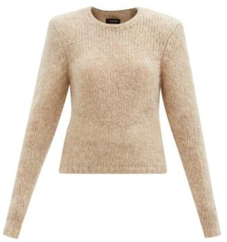 Isabel Marant Erin Padded-shoulder Mohair-blend Sweater - Beige