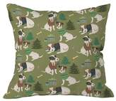 """Deny Designs Christmas Canine Jack Russell Throw Pillow Green (20""""x20"""