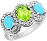 PIERA 10K White Gold Natural Peridot & Turquoise 3-Stone Ring Oval Diamond Accent, size 6.5