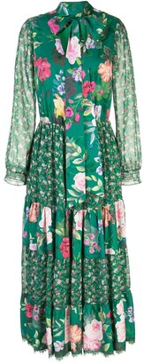 Marchesa Floral Print Pussybow Dress