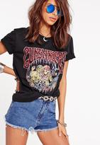 Missguided Guns and Roses Skeleton T Shirt Black