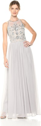 Adrianna Papell Women's Beaded Halter Illusion Bodice Long Chiffon Dress