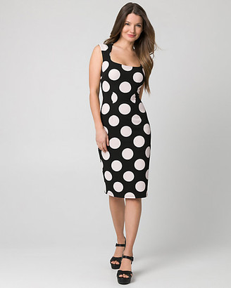 Le Château Dot Print Textured Knit Square Neck Dress