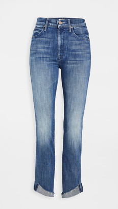 Mother High Waisted Rascal Ankle Slit Flip Jeans