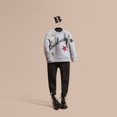 Burberry Graphic Print and Sequin Embellished Cotton Jersey Sweatshirt