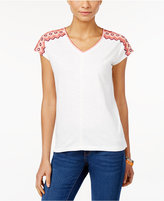 Style&Co. Style & Co. Petite Embroidered V-Neck Top, Only at Macy's