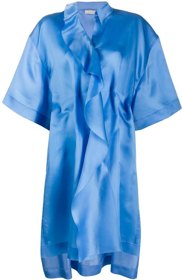 Nina Ricci Draped Oversized Silk Dress