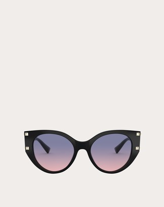 Valentino Cat-eye Acetate Frame With Studs Women Black Acetate 100% OneSize