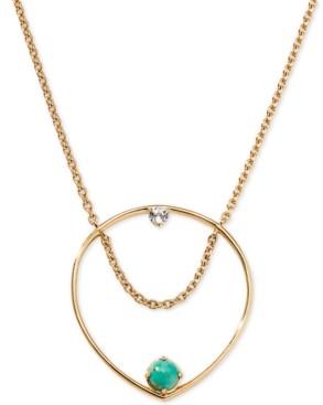 "AVA NADRI 18k Gold-Plated Stone & Crystal Open Pendant Necklace, 24"" + 1"""