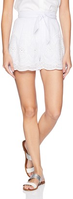 ASTR the Label Women's Sutton Eyelet LACE Casual HIGH Waist Shorts with Belt