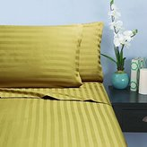 """Elegant Comfort Wrinkle & Fade Resistant 1500 Thread Count - Damask STRIPES Egyptian Quality Luxurious Silky Soft 4pc Sheet Set, Up To 16"""" Deep Pocket, Queen, Gold"""