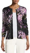 Escada Floral-Print Wool/Silk Cardigan