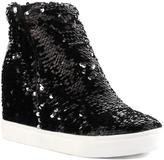 Black Sequin Uneek Wedge Hi-Top Sneaker
