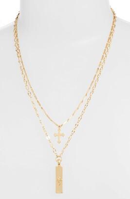 Ettika Cross & Bar Necklaces - Set of 2