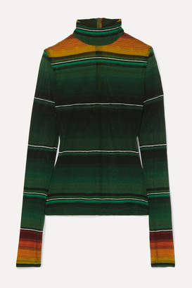 House of Holland Striped Stretch-mesh Turtleneck Top - Army green