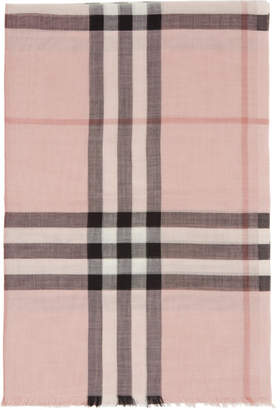 Burberry Pink Wool and Silk Lightweight Check Scarf