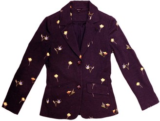 Floral Embroidered Jacket - Dark Red