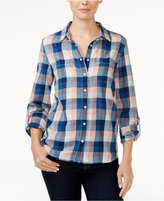 Tommy Hilfiger Roll-Tab-Sleeve Plaid Shirt, Only at Macy's