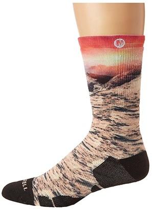 Merrell Coral Sunset Printed Crew 1-Pack (Hot Coral) Women's Crew Cut Socks Shoes
