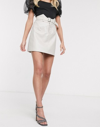 Outrageous Fortune pu mini aline skirt with belt in cream