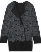 Diane von Furstenberg Jeraldine Lace-paneled Merino Wool Coat - Gray