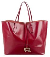 Rochas Leather Scalloped-Trimmed Tote
