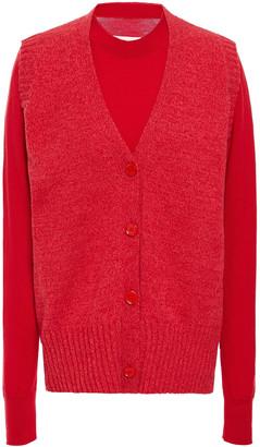 MM6 MAISON MARGIELA Layered Melange Wool-blend Cardigan