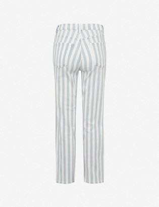 J Brand Jules striped straight-leg high-rise jeans