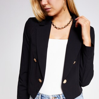 River Island Womens Black button cropped blazer