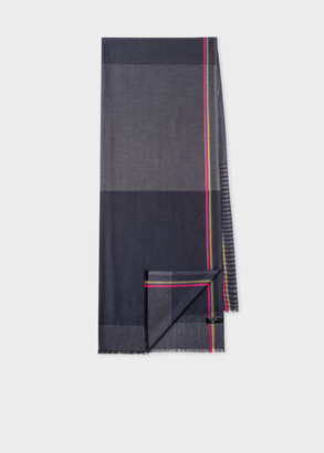 Paul Smith Slate Blue Cotton Scarf With Striped Border