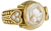 Judith Ripka 18K Mother of Pearl Intaglio & Diamond Ring