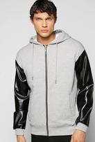 Boohoo Luxe Hoodie With Pu Sleeves And Side Zips