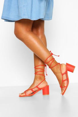 boohoo Wide Fit Cylinder Heel Strappy Sandals