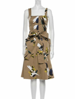 Oscar de la Renta Floral Print Midi Length Dress