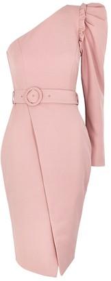 Lavish Alice Dusky pink one-shoulder wrap dress