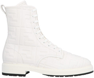 Fendi Embossed Logo Leather Lace-up Boots Snow