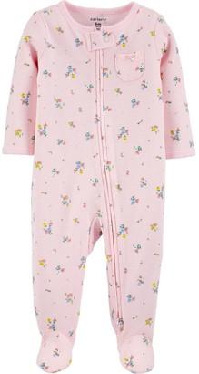 Carter's Baby Girl Floral 2-Way Zip Thermal Sleep & Play