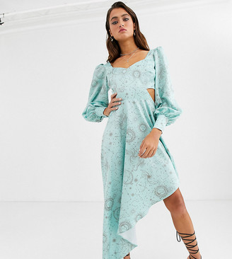 House Of Stars high low midi dress in celestial print