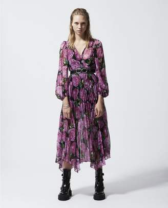 The Kooples Long flowing dress w/pleating & floral motif
