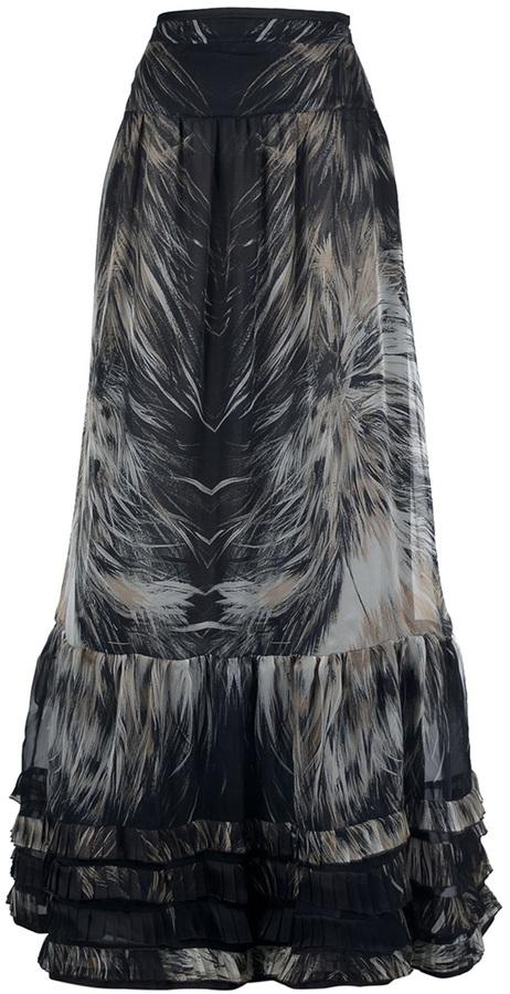Roberto Cavalli Feather print maxi skirt