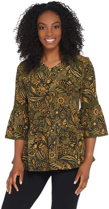 Denim & Co. Printed Paisley Bell-Sleeve Blouse w/ Trim