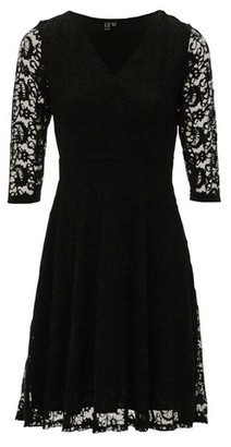 Dorothy Perkins Womens *Izabel London Black Lace 3/4 Sleeve Skater Dress, Black