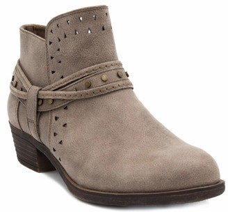 Sugar Women's Thinker Block Heel Ankle Boot Ladies Bootie with Wraparounds Cutouts and Studs Taupe 9.5