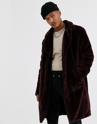 Topman overcoat in burgundy faux fur